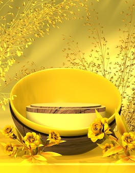 Hello spring luxury podium stage display for product presentation  3d rendering background