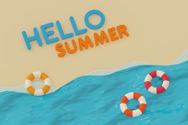 Hello summer 3d illustration on the beach