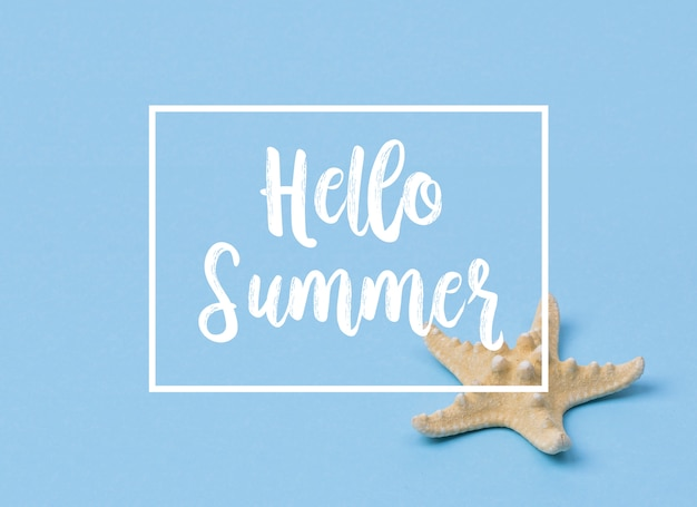Hello summer banner with starfish on blue.