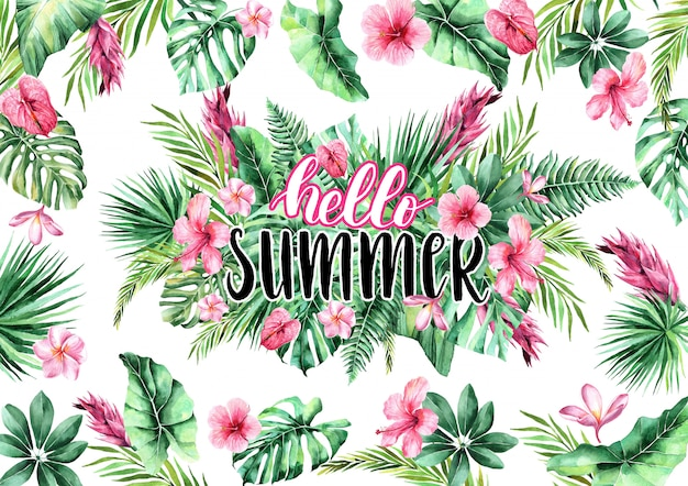こんにちは夏。熱帯の背景に書道の碑文。水彩熱帯の葉