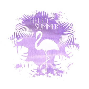 Здравствуйте! лето надписи фламинго фиолетовый плакат баннер рисованной акварель пятно иллюстрации. силуэт фламинго, тропических экзотических растений. концепция летнего отдыха дизайн плаката, открытки, приглашения
