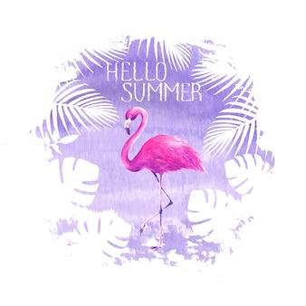 Здравствуйте, лето надписи розовый фламинго фиолетовый плакат баннер рисованной акварель пятно иллюстрации. тропическая птица фламинго, тропические экзотические растения. концепция дизайна плаката летних каникул.