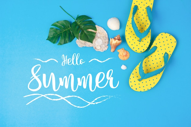 Hello summer text on blue background