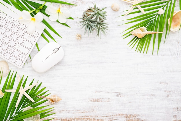 Hello summer travel vacation concept flat lay background with copyspace.