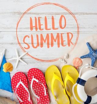 안녕하세요 여름 휴가 메시지 기호 개념