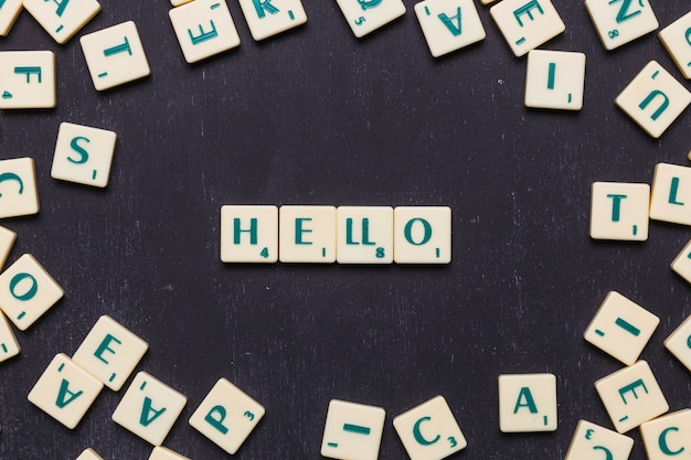 Hello text made from scrabble game letters