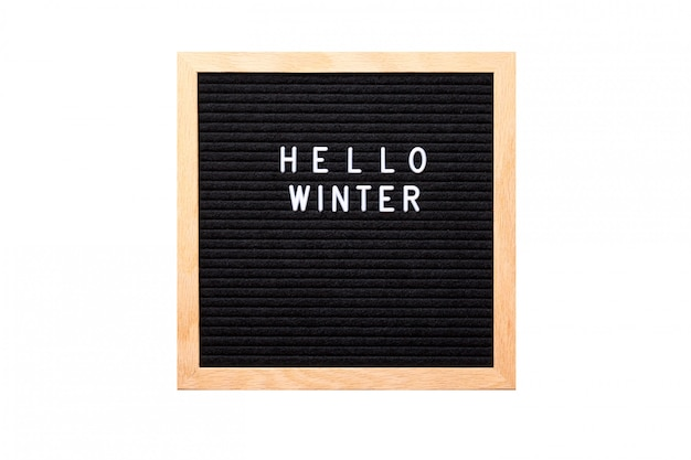 Hello winter words on a letter board isolated on white