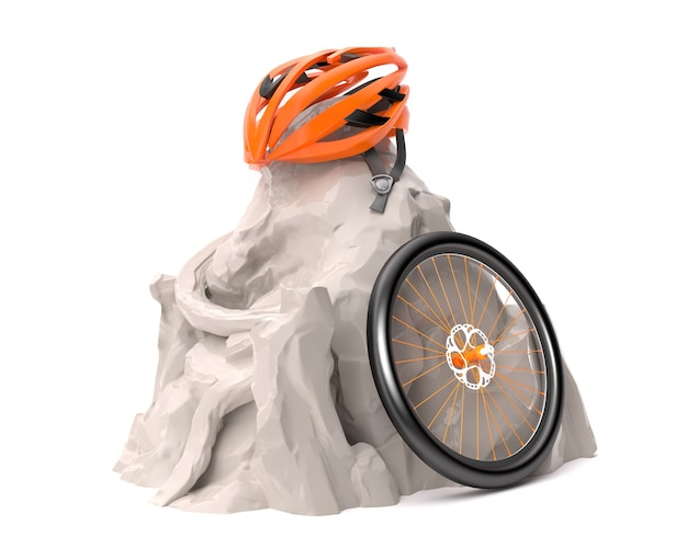 白山でのサイクリング用ヘルメットと自転車の車輪