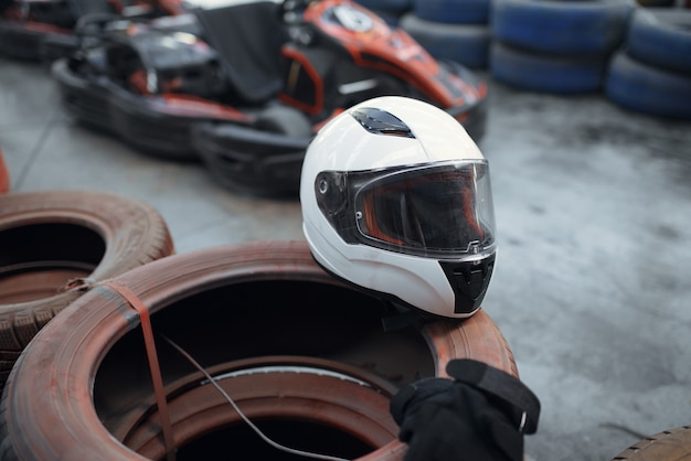 Helmet on tires, go kart car