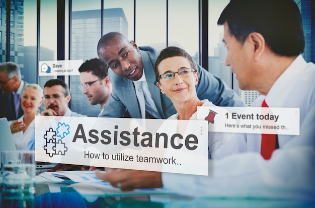 Help conference alerts assistance businessmen giving