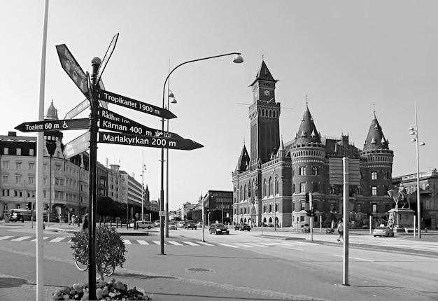 ヘルシンボリとその見事な市庁舎スコーネ郡スウェーデンのモノクローム