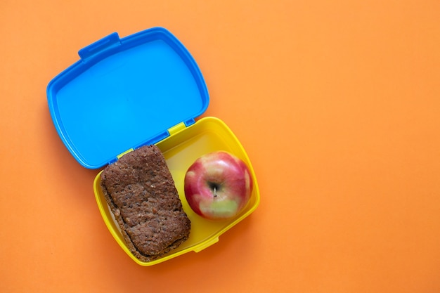 Helthy lunch box bread with apple in bright