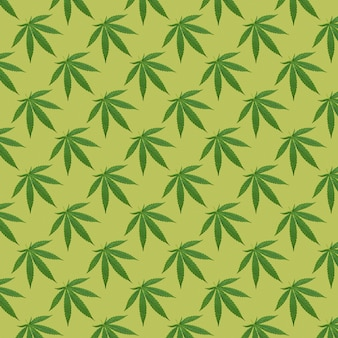 Hemp or cannabis leaves seamless pattern. close up of fresh cannabis leaves on yellow background