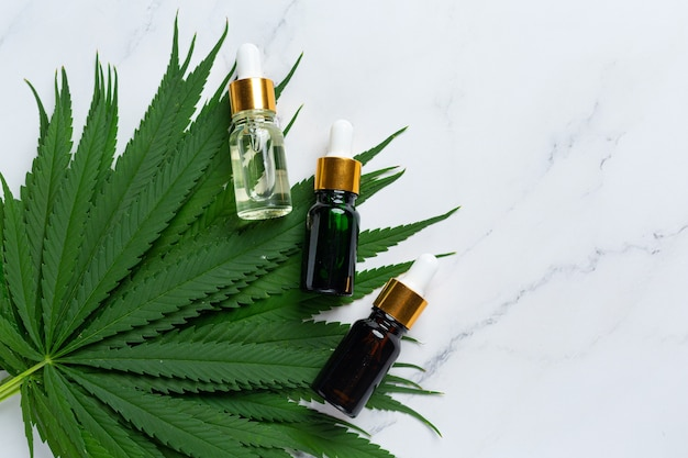 麻の種子からの麻油と医療用マリファナの葉。