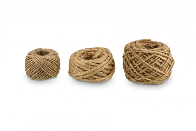 Hemp rope winded is a ball isolated