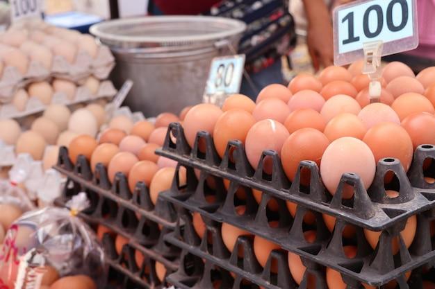 Hen egg in the market