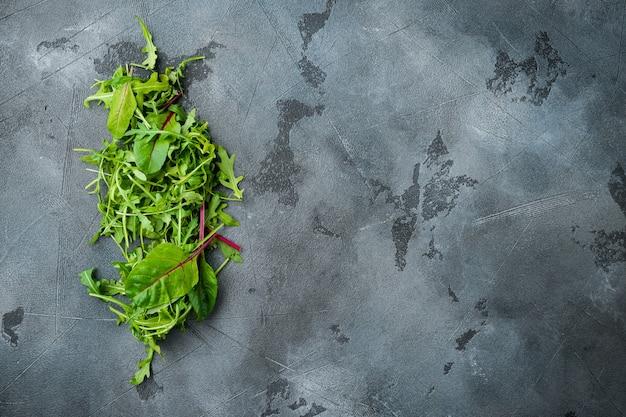 Зеленый салат из зелени с рукколой и мангольдом, швейцарский мангольд, на сером каменном фоне, плоская планировка, вид сверху, с местом для текста