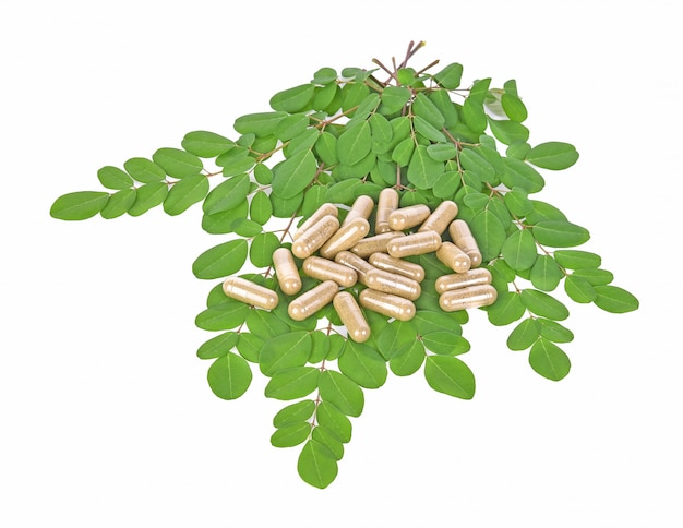 Herbal capsules with leaves