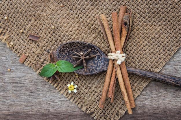 Herbal cinnamon on table