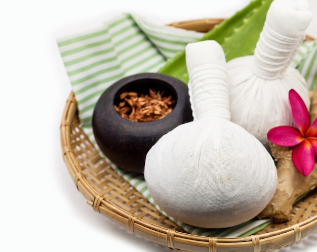 The herbal compress ball for spa .