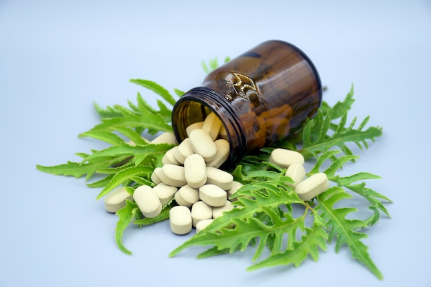 Herbal compress tablets medicine from natural products.