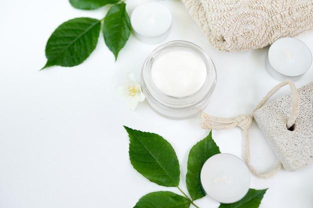 Herbal cosmetic cream skincare product in glass jar