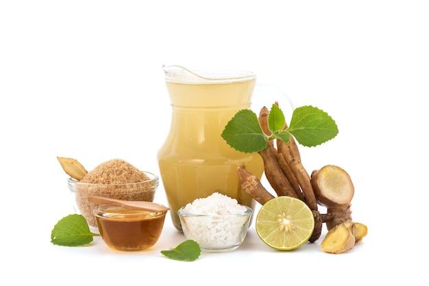 Herbal drink with ginger root ,fingerroot,coleus amboinicus leaves,sea salt,brown sugar ,lemon and honey.