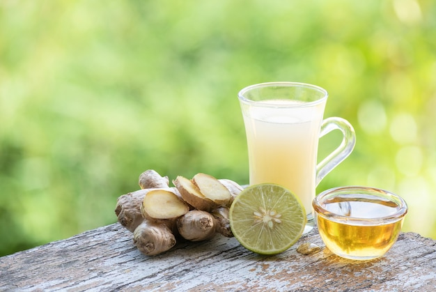 Herbal drink with ginger root ,lemon and honey.