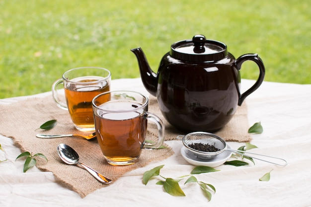 Herbal glass tea cups with black teapot an herbs on tablecloth against green grass