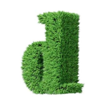 Строчная буква d алфавита травяной травы, повернутая по часовой стрелке. изолированные на белом 3d иллюстрации.
