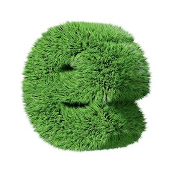 Строчная буква е алфавита травяной травы, повернутая по часовой стрелке. изолированные на белом 3d иллюстрации.