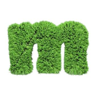 초본 잔디 알파벳 소문자 m. 화이트 절연 3d 그림입니다.