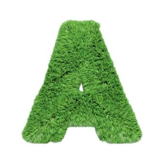 Заглавная буква а алфавита травяной травы. изолированные на белом 3d иллюстрации.