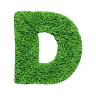 Заглавная буква d алфавита травяной травы. изолированные на белом 3d иллюстрации.