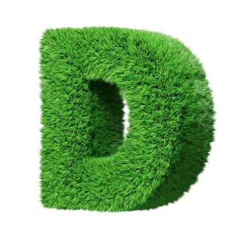 Заглавная буква d алфавита на травах, повернутая по часовой стрелке. изолированные на белом 3d иллюстрации.