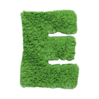 Заглавная буква e алфавита травяной травы. изолированные на белом 3d иллюстрации.