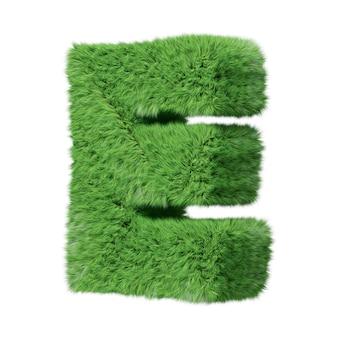 Заглавная буква e алфавита на травах, повернутая по часовой стрелке. изолированные на белом 3d иллюстрации.