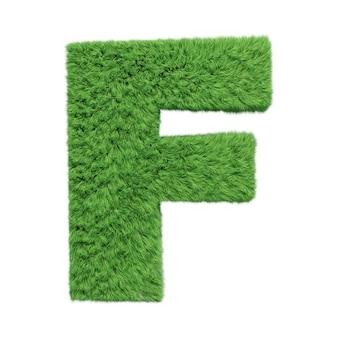 Заглавная буква f алфавита травяной травы, изолированные на белом 3d иллюстрации.