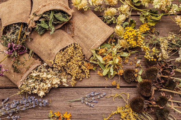 Herbal harvest collection and bouquets of wild herbs. alternative medicine. natural pharmacy, self-care concept
