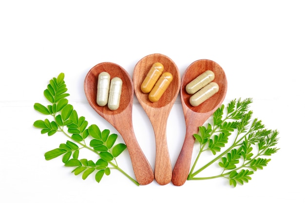 Herbal medicine in capsules for healthy eating of good living life