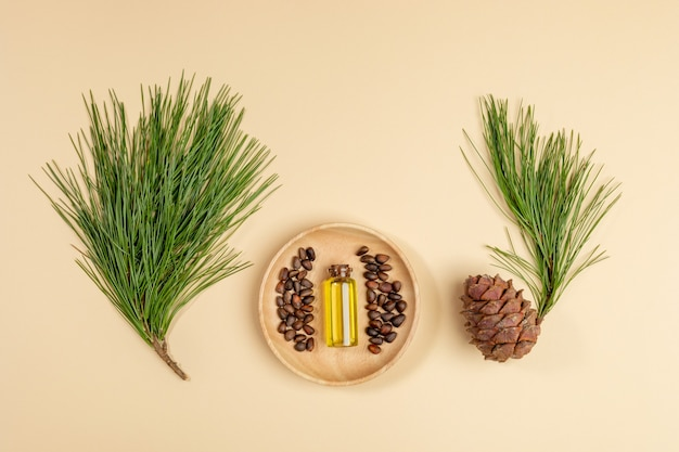 Herbal medicine layout. coniferous spa aromatic essential cedar oil in small glass bottle on wooden plate with cedar branch, cone, nuts on beige background. aromatherapy and spa concept. top view.
