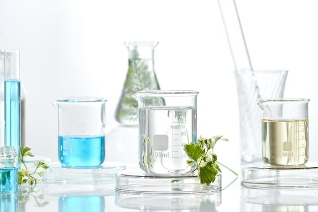 漢方薬の自然な有機物と科学的なガラス製品、研究開発のコンセプト。