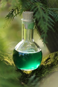 Herbal potion magic potion. homeopathic medicine. organic cosmetics concept