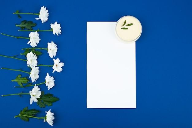 Травяное взгляд сверху косметик ухода за кожей на голубой предпосылке. макет баннера для эко-магазина или салона красоты. минимализм плоский стиль