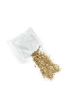 Herbal tea bag with chamomile isolated