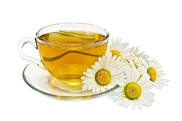 유리 컵과 접시에 허브 차, 흰색에 고립 된 chamomiles의 꽃다발