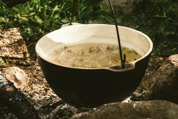 Herbal tea in kettle