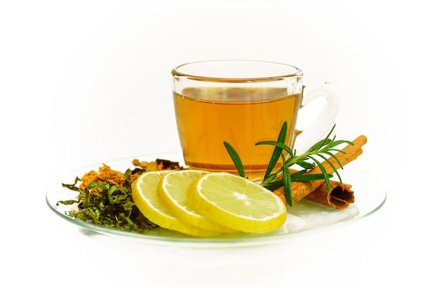Herbal tea set isolated