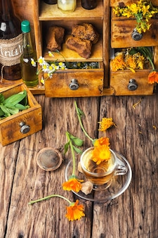 Herbal tea with calendula flowers