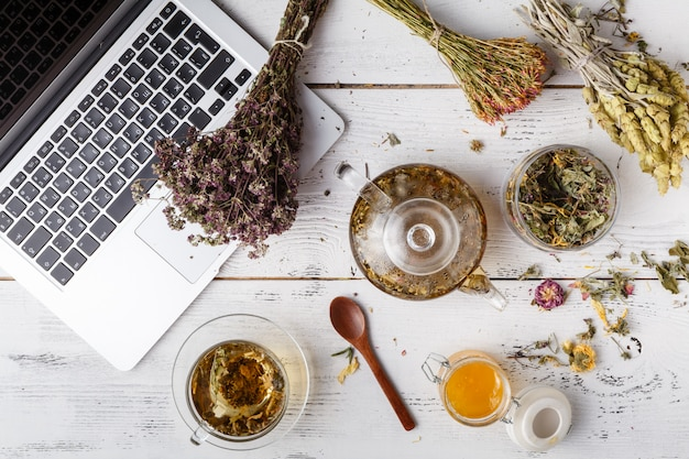 Herbal tea with laptop and herbs